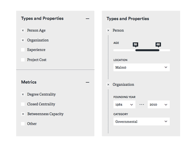 Graph Commons Filter list expand range checkbox prototype wireframe slider collapse ui filter