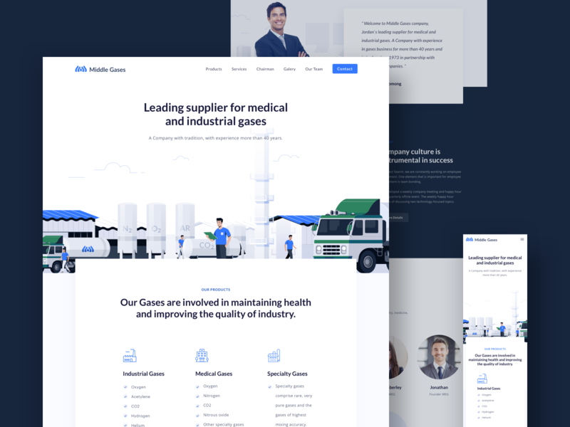 Gases Company - Landingpage responsive versio mobile design ux ui icon truck gas company professional clean vector illustration website page landing