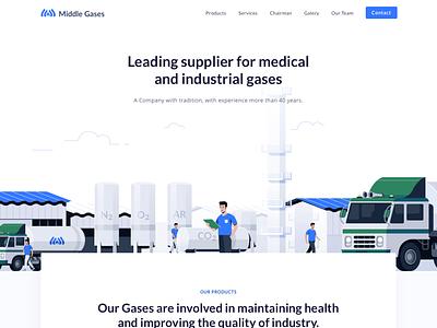 Gases Company - Landingpage responsive versio mobile design ux ui icon truck gas company professional clean vector illustration website page landing