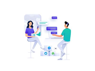 Customer Messaging platform - Header Illustration management ux ui meeting marketing digital people vector icon homepage message bot chat business design illustration header