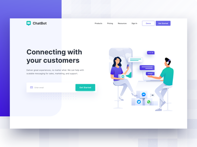 Customer Messaging platform - Header Illustration management ux ui meeting marketing digital people vector icon homepage message bot chat business design illustration header