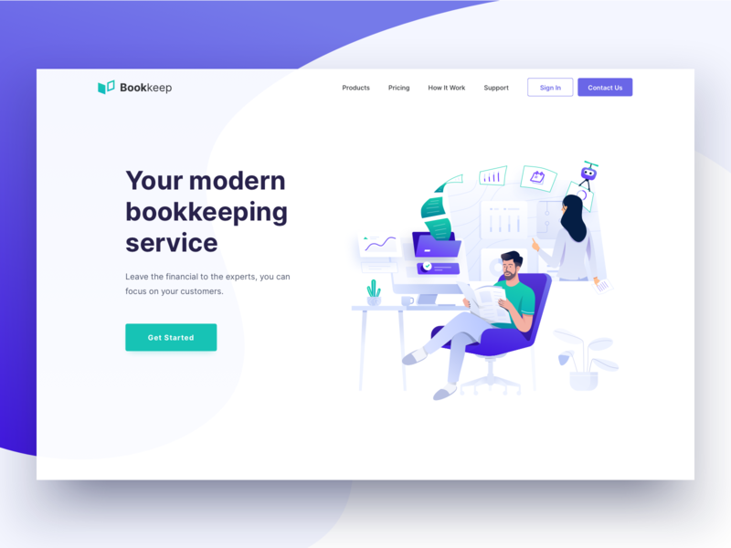 Financial Bookkeeping Service - Header Illustration business computer work finance service bookkeeping landing page vector header clean icon illustration design ux