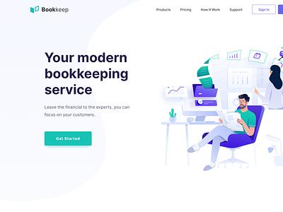 Financial Bookkeeping Service - Header Illustration business computer work finance service bookkeeping landing page vector header clean icon illustration design ux
