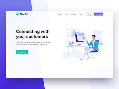 Customer Messaging Platform - Header Illustration website clean vector web ux typography management landing page header business icon illustration design ui
