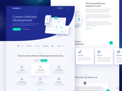 Novateus Website - Homepage header landing page icon illustration clean business ux ui design website agency hi dribbble