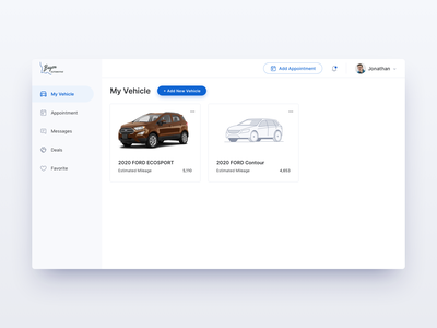 BayouFord  Customer Dashboard - resource management app icon clean illustration business dealership dealer car dashboard design ux ui