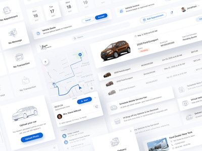 BayouFord UI Components service delivery tracking web app car management business component illustration icon clean design ux ui