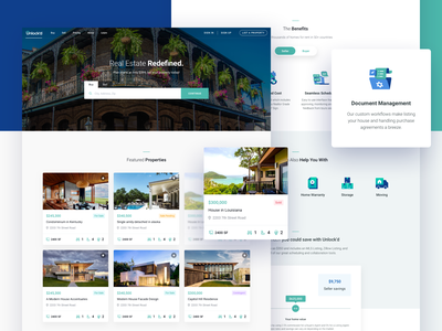 Unlock'd Homepage Design - Real Estate agent house home buy sell property realestate typography icon clean business landing page header design ux ui