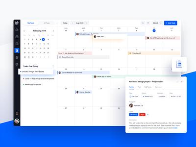 Cuewel Dashboard by Novateus - Calendar task schedule calendar project software management clean icon dashboad design ux ui