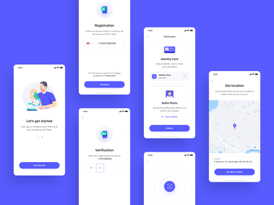 Finance App - Get Started verify icon clean illustration management business scan maps identity register onboarding app finance design ux ui