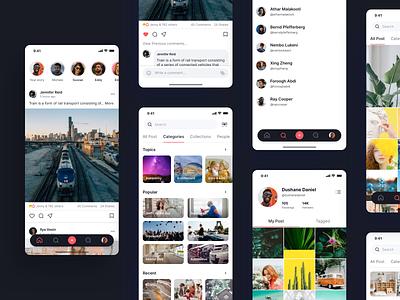 Social Media App Design software icon community network virtual information idea sharing media social app clean design ux ui