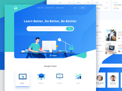Online Course Landingpage icon study clean ui illustration class online course homepage landing page
