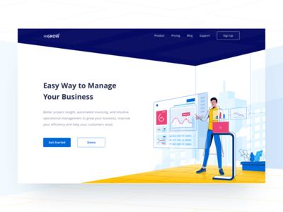 Header Illustration for Business Management hamam website business management professional clean illustration header hero landing page