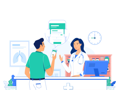 Illustration for health payments medical clean medicine people doctor app woman health illustration