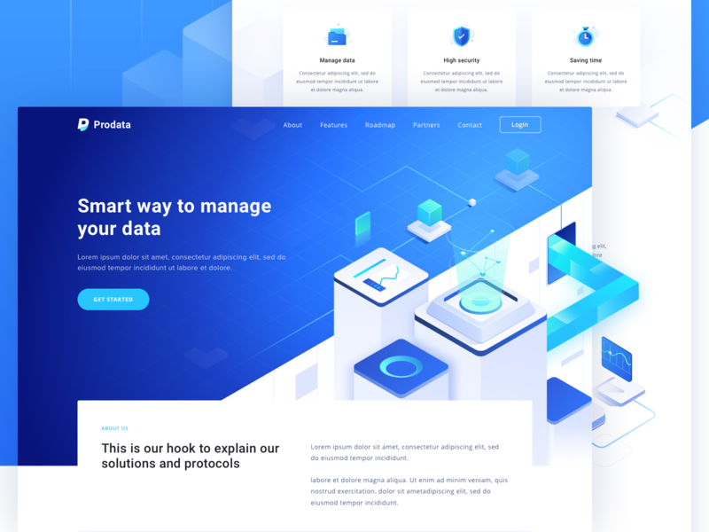 Prodata   Digital Data Website way smart management logo design illustration modern icon isometric landing page website data digital