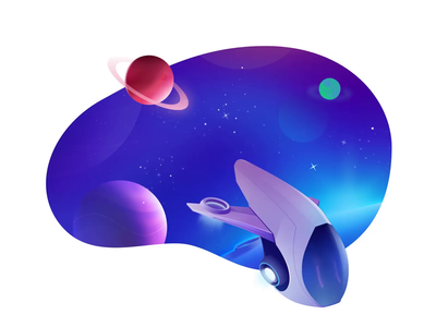 Space illustration universe astronaut spaceship star icon ui header planet animation illustration ship space
