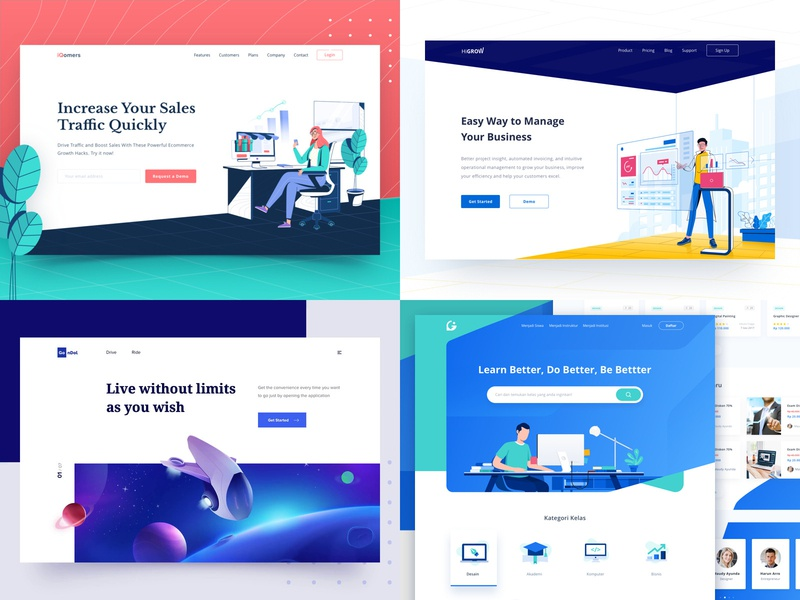 2018 clean business planet space astronaut icon ui design header landing page illustration