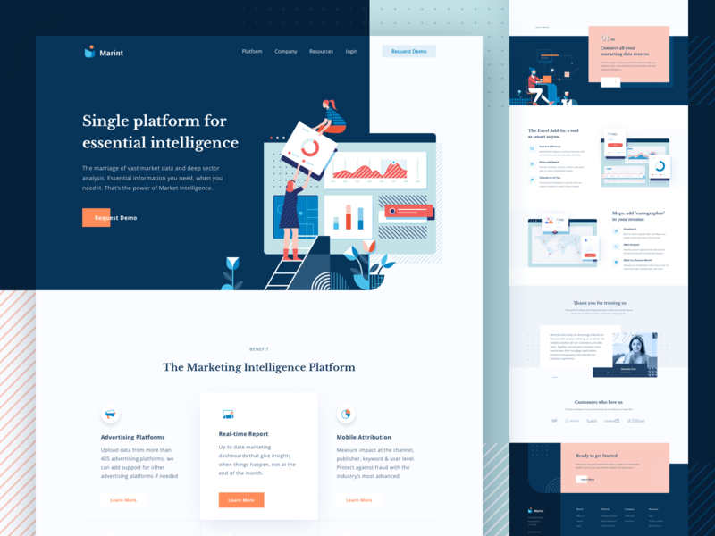 Marketing Intelligence Platform Landing Page management people texture pattern website platform intelligence marketing business app icon clean landing page header design illustration ui