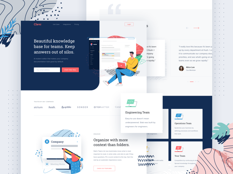 Exploration Landing Page Illustration management business people icon clean header design pattern illustration landing page ui