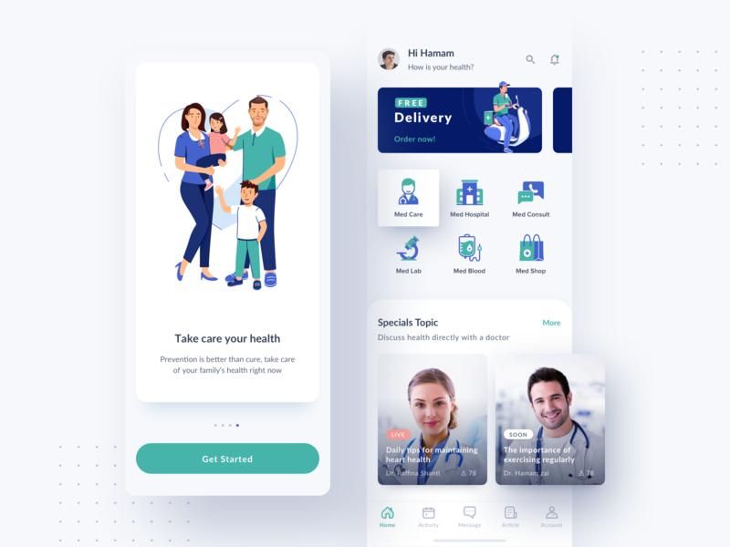 Medical App - Home card prescription clean icon ui illustration mobile design doctor health care app medical