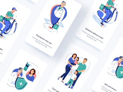 Medical App - Onboading walkthrough onboarding hospital vector motion trusted doctor medical health app design ui clean icon mobile illustration
