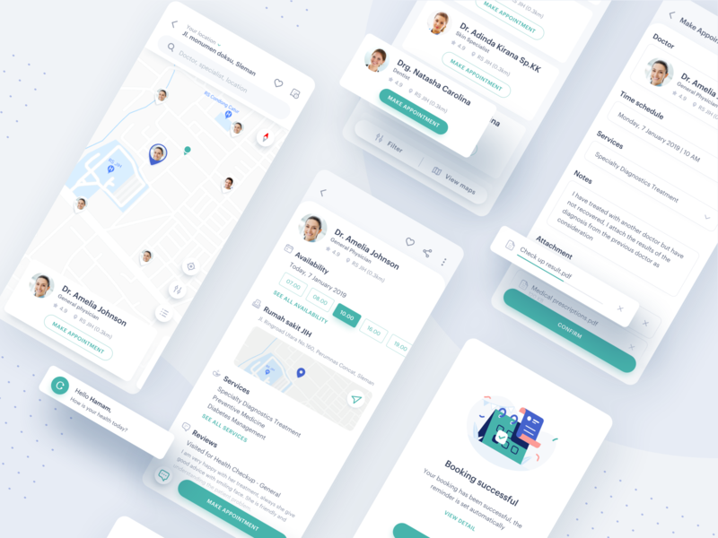 Medical App - Make Appointment mobile typography health medical vector ui icon book success detail maps illustration application appointment doctor design clean app