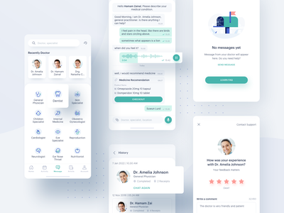 Medical App - Messages comment review rating history chat mobile business app design category message care health illustration doctor design clean icon ui app medical