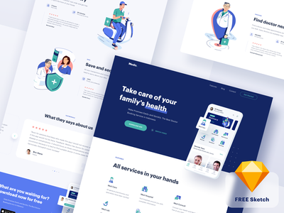 Medical App - Website freebies free landingpage medical health doctor clean icon vector landing page app illustration ui website