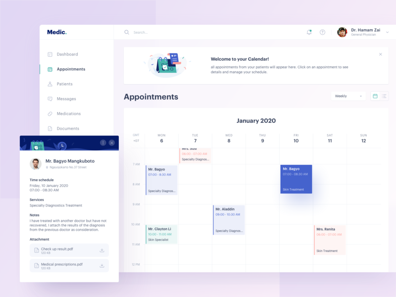 Medical Dashboard - Appointments management medical health doctor icon illustration ux ui clean design appointment dashboad
