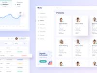 Medical Dashboard - Patients track card list health header app doctor ux ui icon illustration clean design dashboard