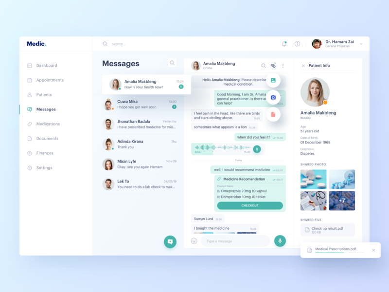 Medical Dashboard - Messages profile file send contact chat message medical health doctor business app icon ux ui clean design dashboad