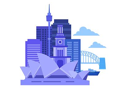 Sydney Landmarks cityscape vector australia buildings sydney landmarks illustration