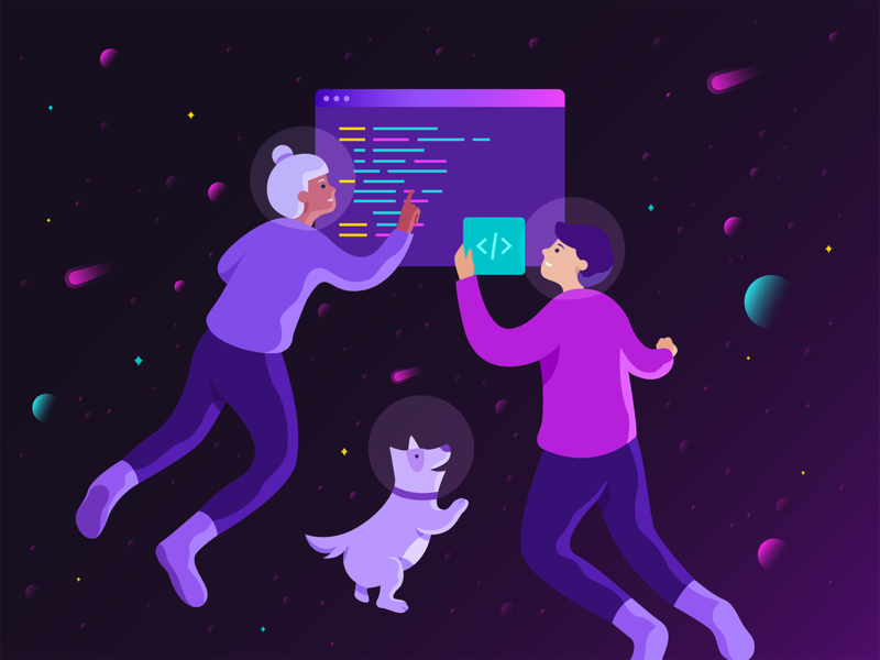 Developers at work gradient coding developers astronaut space dog character illustration illustration vector