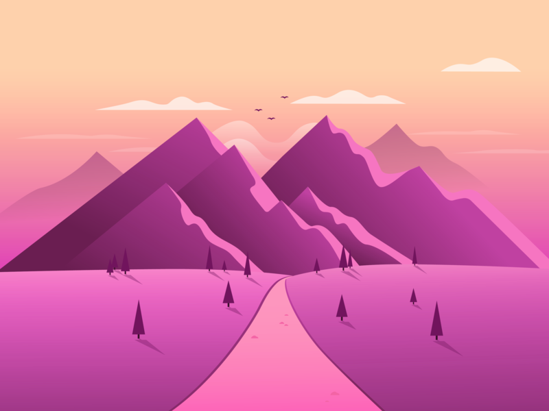 Ambient Mountainscape magenta ambient background mountains landscape gradient illustration vector