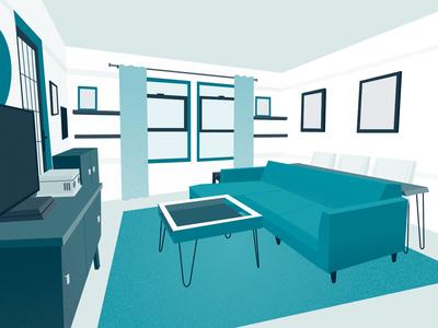 My Apartment interior-design illustrator perspective illustration