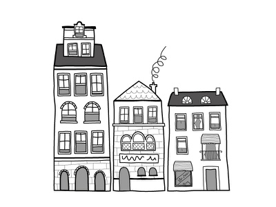 Houses illustration hand drawn house