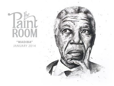 Nelson Mandela painting for The Paint Room painting illustration watercolour the paint room nelson mandela