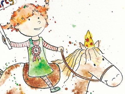 Evie Party watercolour painting crow quill illustration pony horse watercolor ink