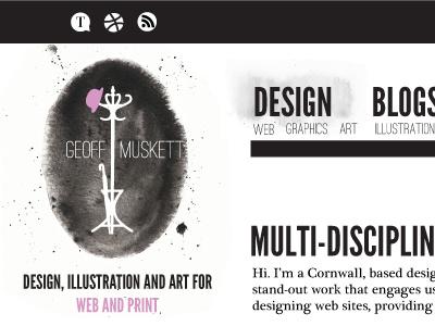 Rebranding watercolor texture logo rebrand web layout design black pink