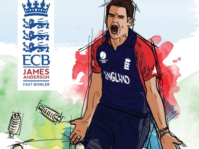 Jimmy Anderson England Cricketer Poster illustration vector watercolour cricket poster bowling