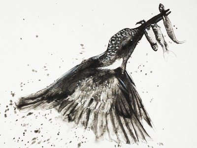 Kingfisher paintin splash watercolor black kingfisher bird fish ink painting