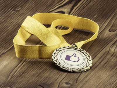 Like! gold medal icon like
