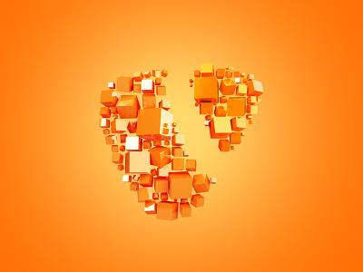 TYPO3 Sign orange cubes sign logo typo3