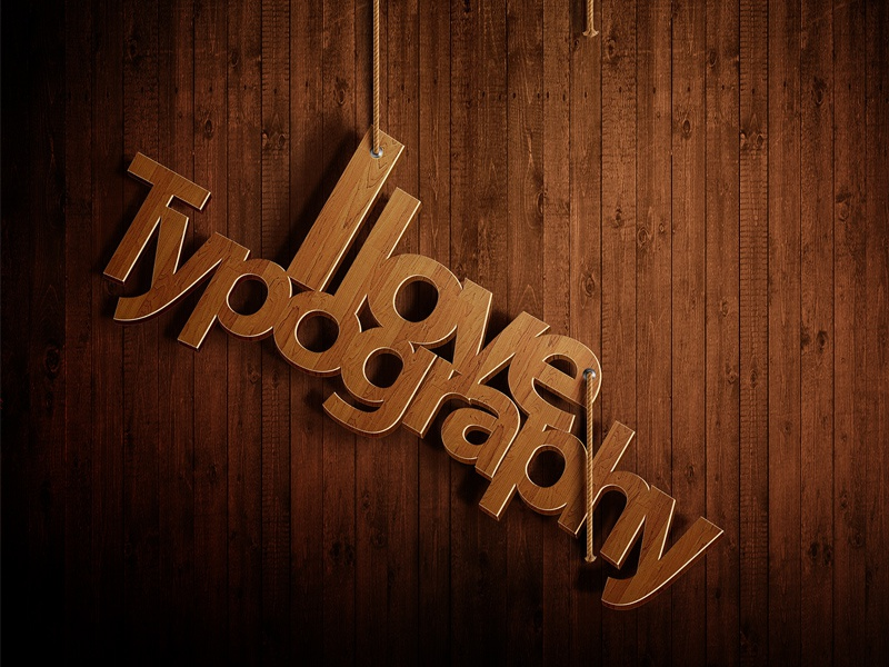 I Love Typography typography wood illustration