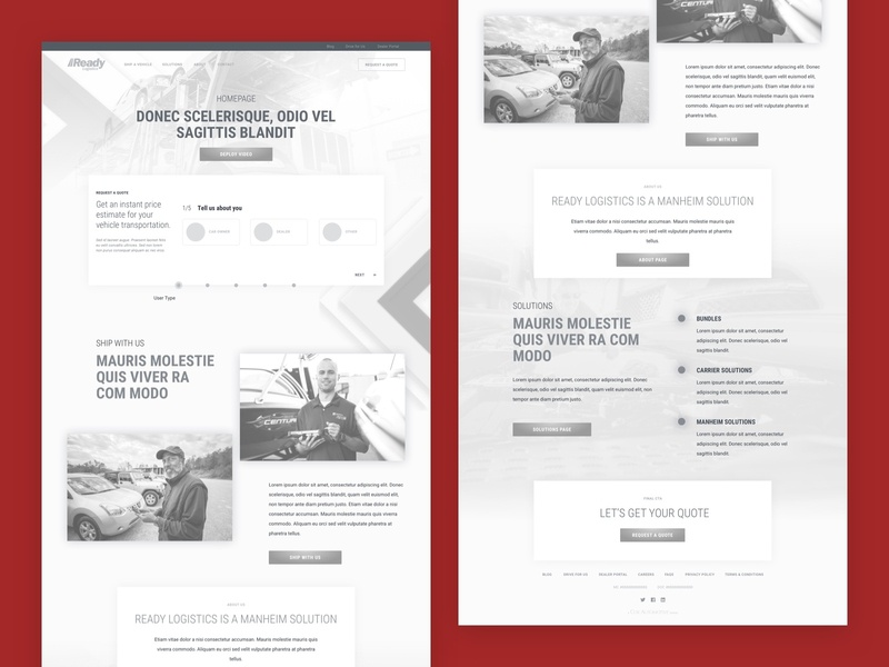 Auto Logistics Wireframes arrows layout dropshadow cards background texture icons form wizard landing page homepage transportation automotive auto logistics wireframes