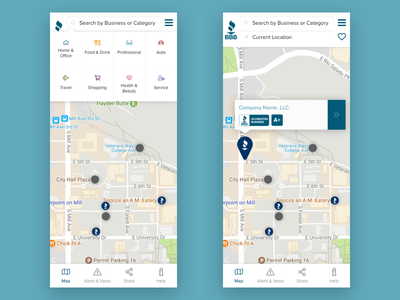 BBB Business Search App menu category icons type layout interface listings bbb proximanova categories location gradient map profile application search