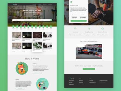 Homepage for Peer-to-Peer Rental Site