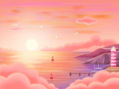 Summer sunset color red seagulls lighthouse night summer sunset illustration light