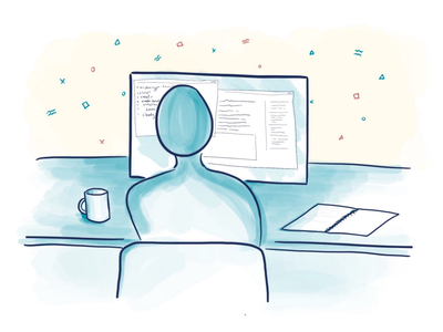 Desk Work cartoon drawing illustration digital-drawing ipad-pro