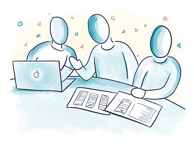 Teamwork cartoon drawing illustration digital-drawing ipad-pro